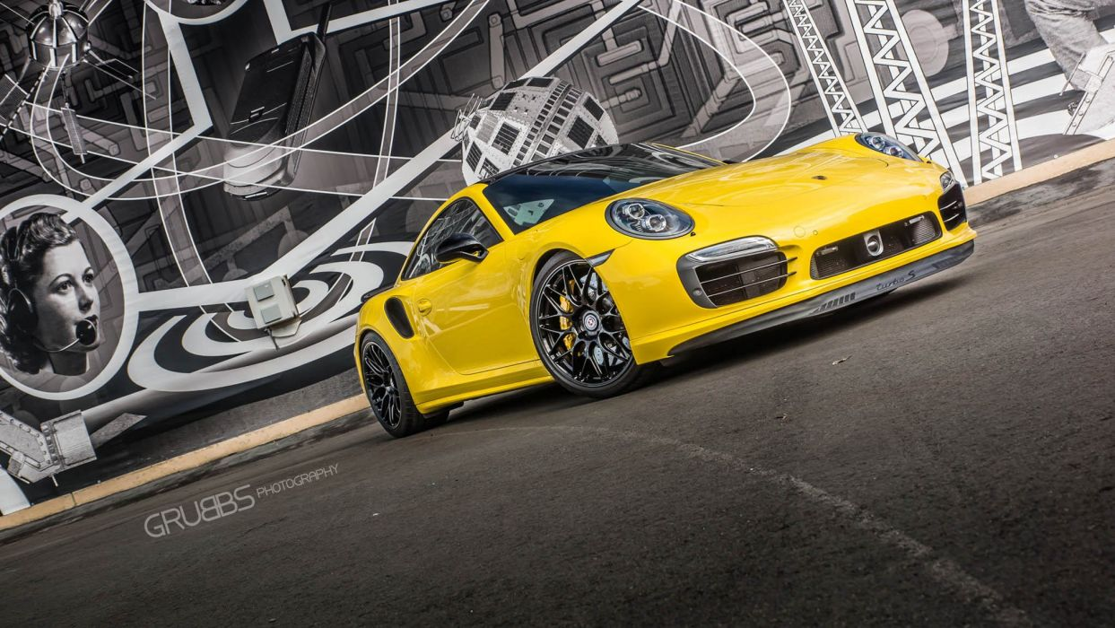 Porsche 991 Turbo S HRE wheels yellow wallpaper