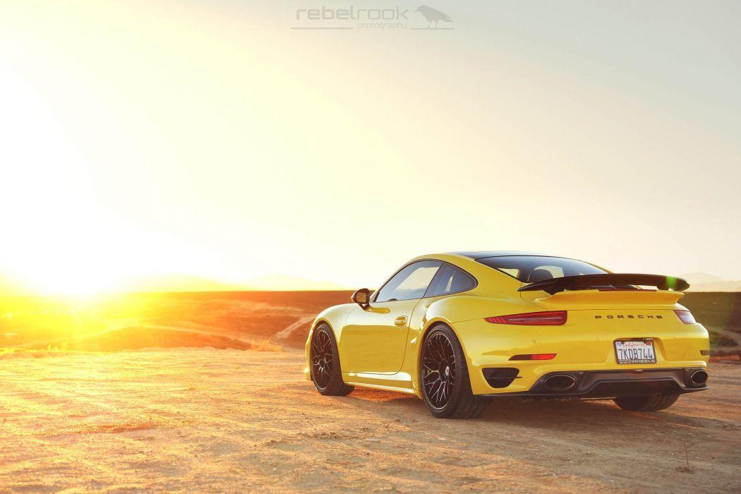 Porsche 991 Turbo S HRE wheels yellow wallpaper