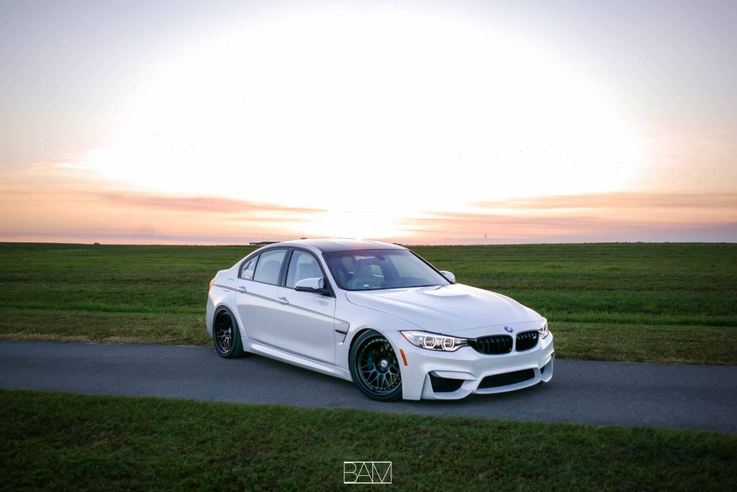 BMW M3 sedan white HRE wheels wallpaper