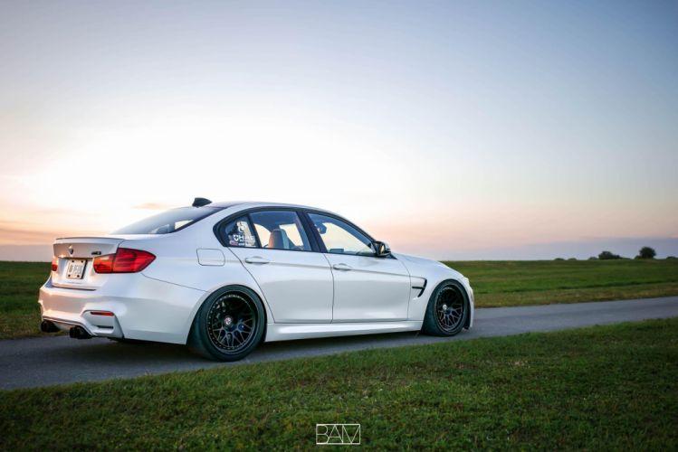BMW M3 sedan white HRE wheels wallpaper