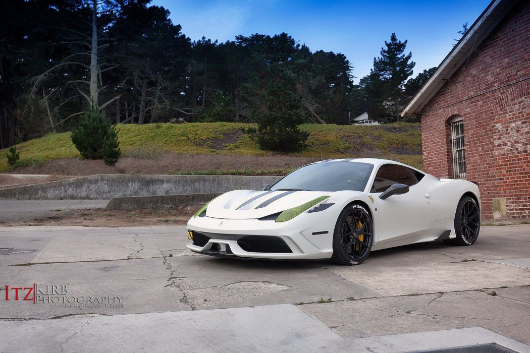 Ferrari 458 Speciale white HRE wheels wallpaper