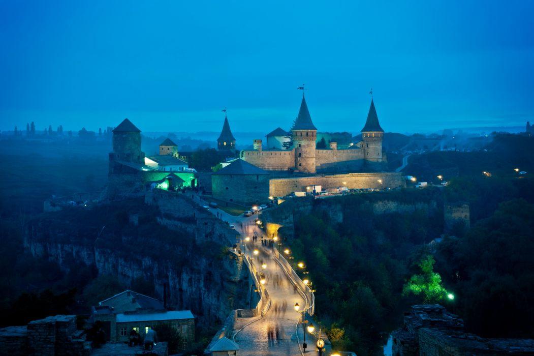 Kamenetz-Podolsk castle bridge tower lights Ukraine wallpaper