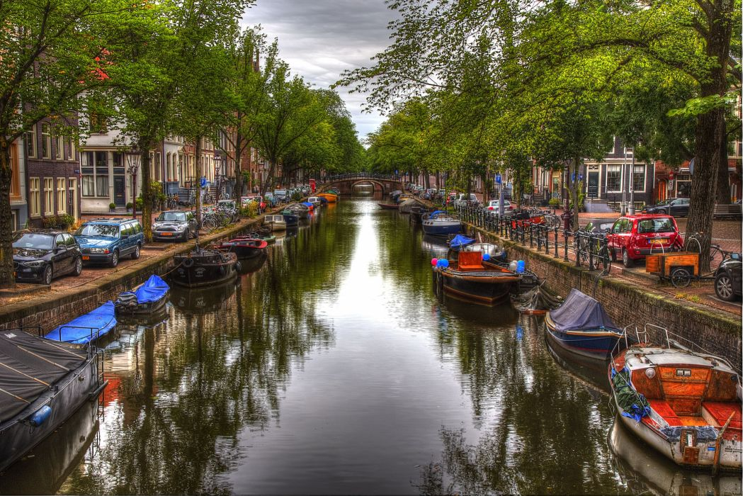 Amsterdam is city canal boats home wallpaper