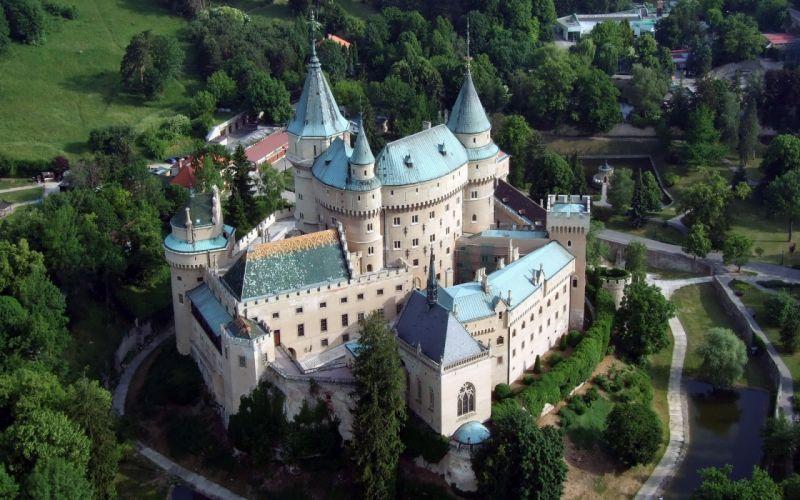 Castle Bojnice Slovakia castle fort trees sky bridge water Bojnicky zamok Slovenska republika wallpaper