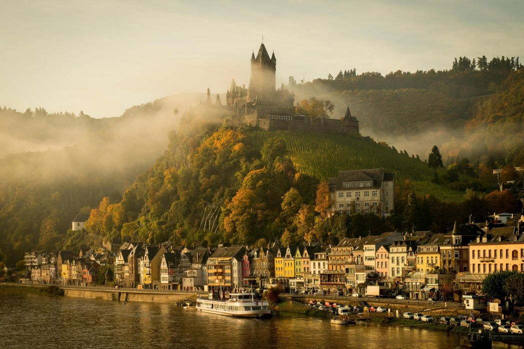 Cochem Castle Autumn morning fog river Mosel Germany wallpaper