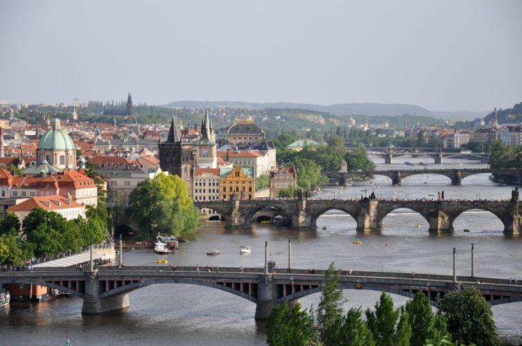Prague Czech Republic Rivers Bridges Cities wallpaper