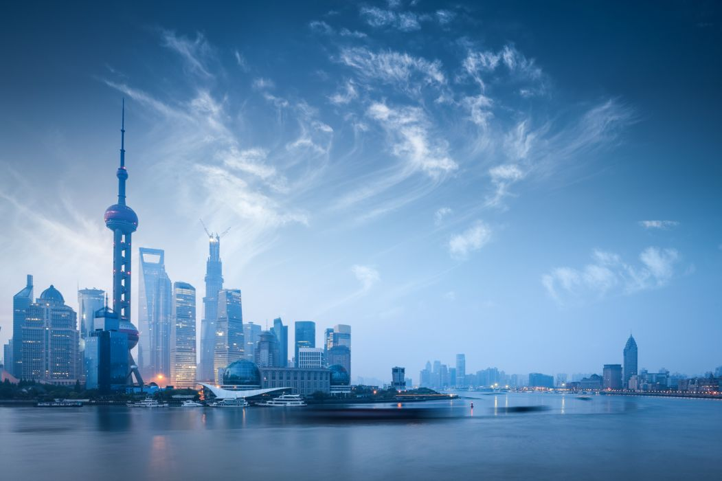 Rivers China Skyscrapers Sky Houses Coast Cities wallpaper