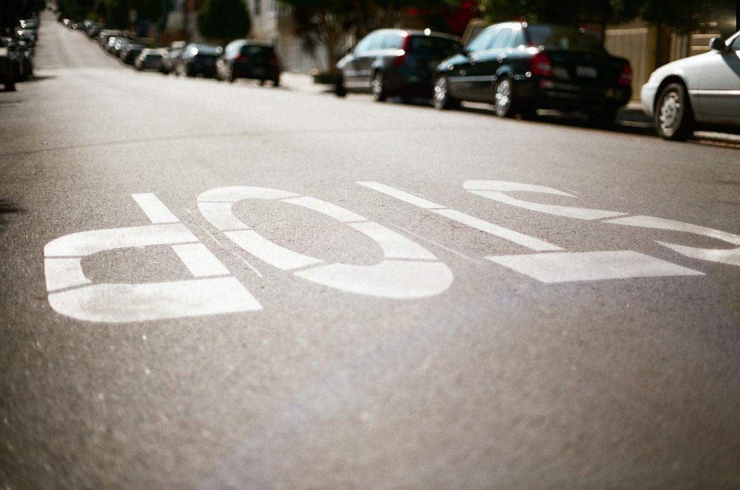 Roads Closeup Asphalt stop Cities wallpaper
