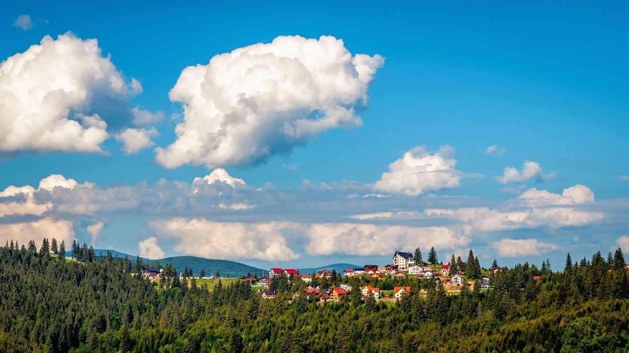 Romania Forests Sky Clouds Paltinis Transylvania Cities wallpaper