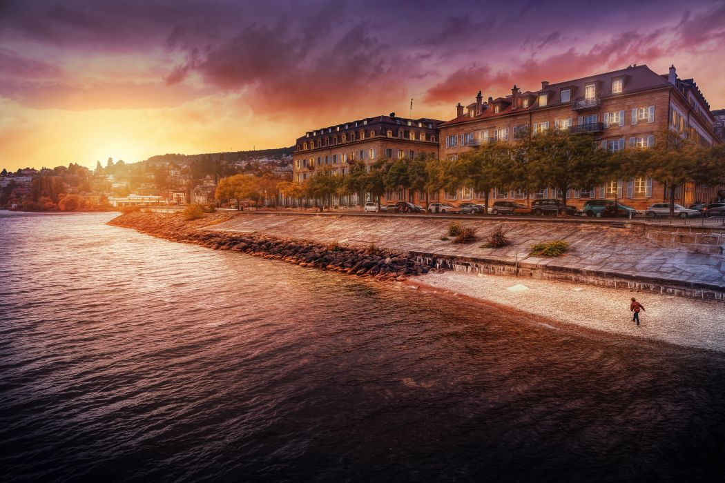 Rivers Coast Houses Sunrises and sunsets Cities wallpaper