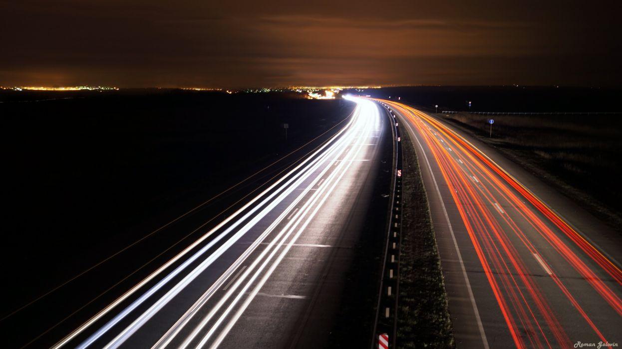 Roads Night Motion Cities wallpaper