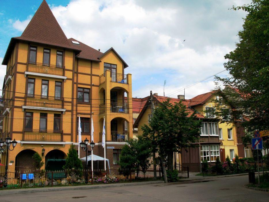Russia Houses Street Street lights Zelenogradsk Kaliningradskaya Oblast Cities wallpaper