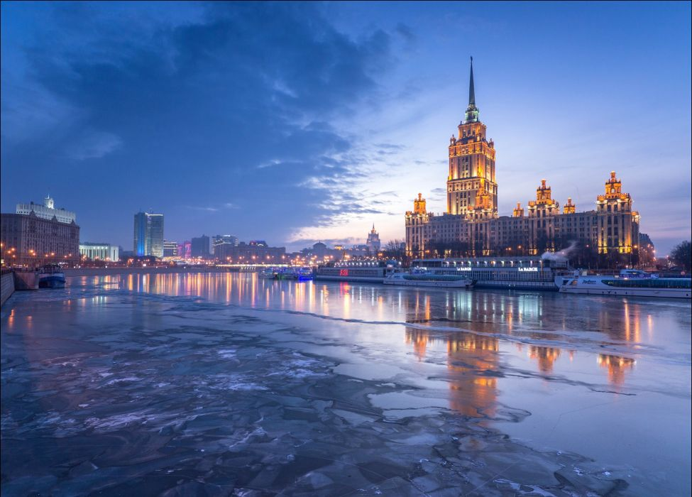 Russia Moscow Houses Rivers Sky Motorboat Night Hotel Radisson Cities wallpaper