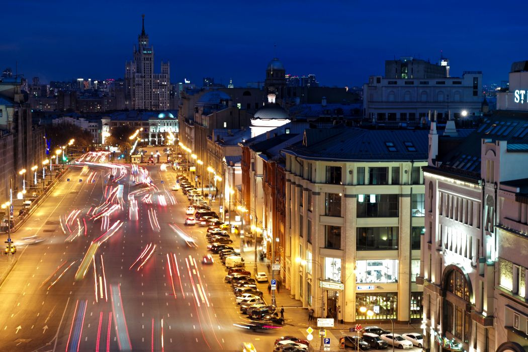 Russia Moscow Houses Roads Street Night Street lights Motion Cities wallpaper
