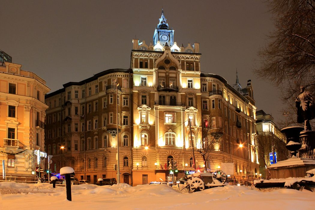 Russia Moscow Houses Winter Night Street lights Street Cities wallpaper