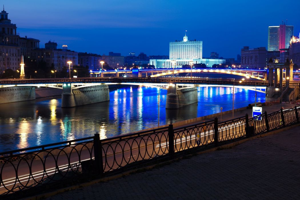 Russia Moscow Rivers Bridges Night Street lights Fence Cities wallpaper
