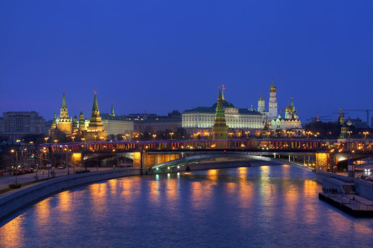 Russia Moscow Houses Rivers Bridges Night Cities wallpaper