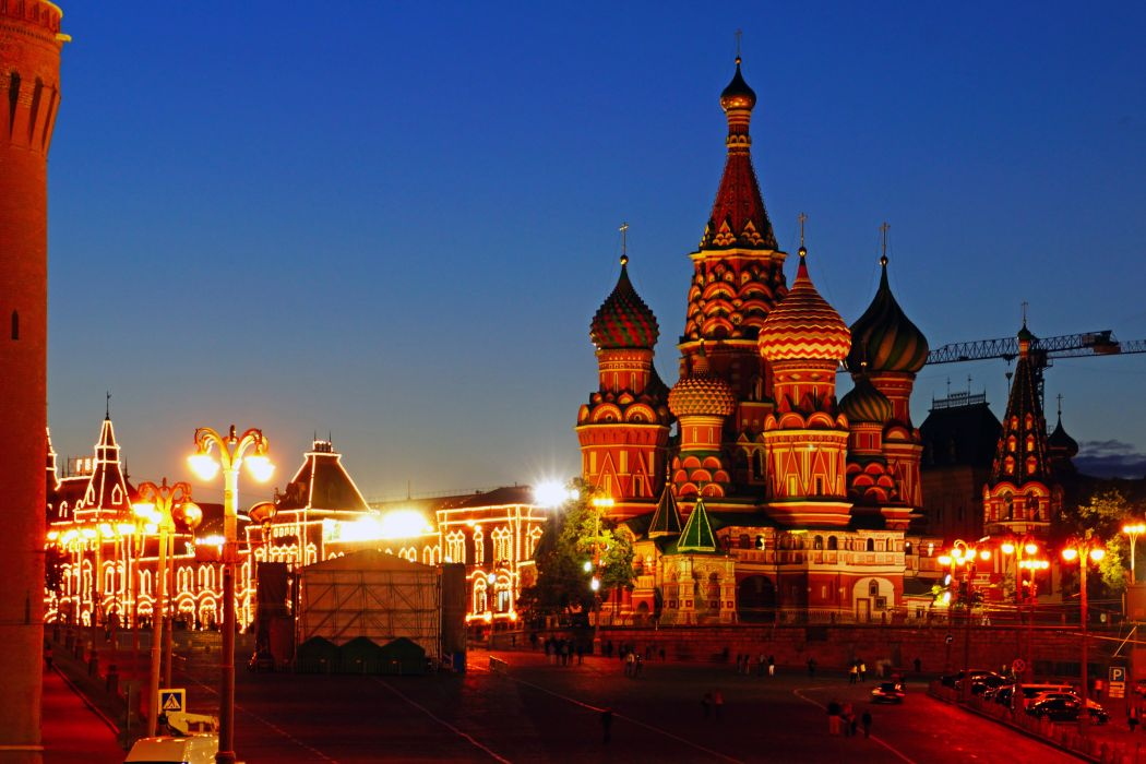 Russia Moscow Temples Night Street lights Cities wallpaper