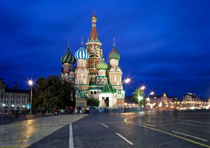 Russia Moscow Temples Night Street lights Street Saint Basil's Cathedral Cities wallpaper