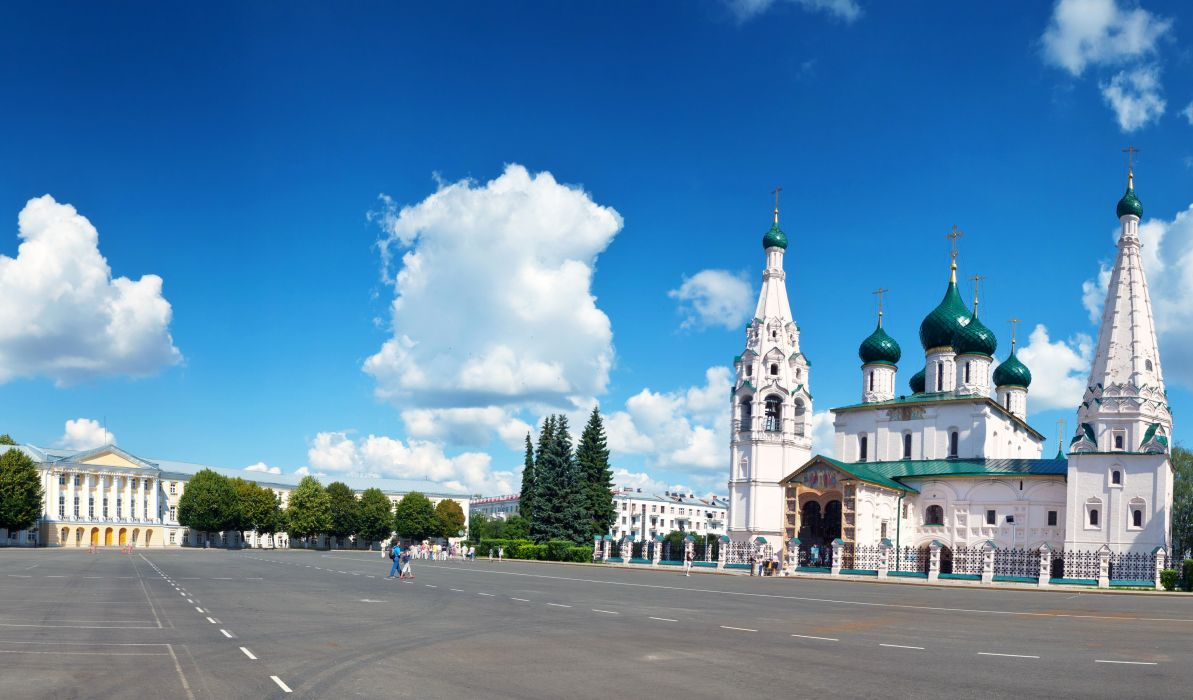 Russia Temples Roads Sky Clouds Yaroslavl Cities wallpaper