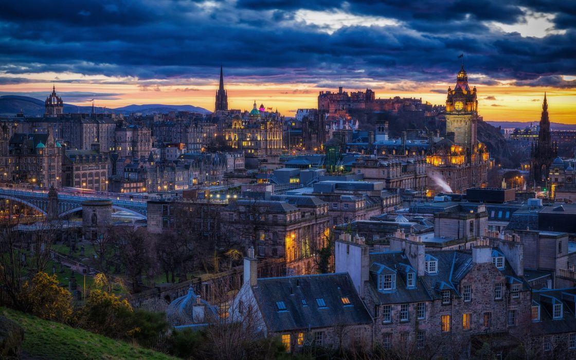 Scotland Houses Night Edinburgh Cities wallpaper