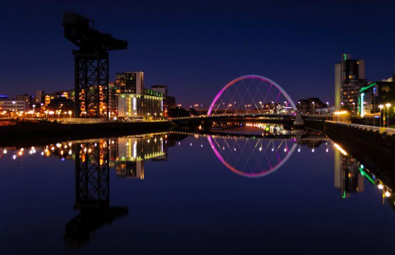 Scotland Houses Rivers Bridges Night University of Glasgow Cities wallpaper