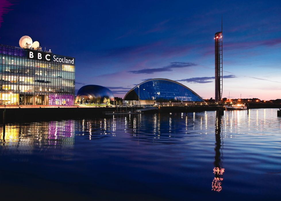 Scotland Houses Rivers Night Glasgow Cities wallpaper