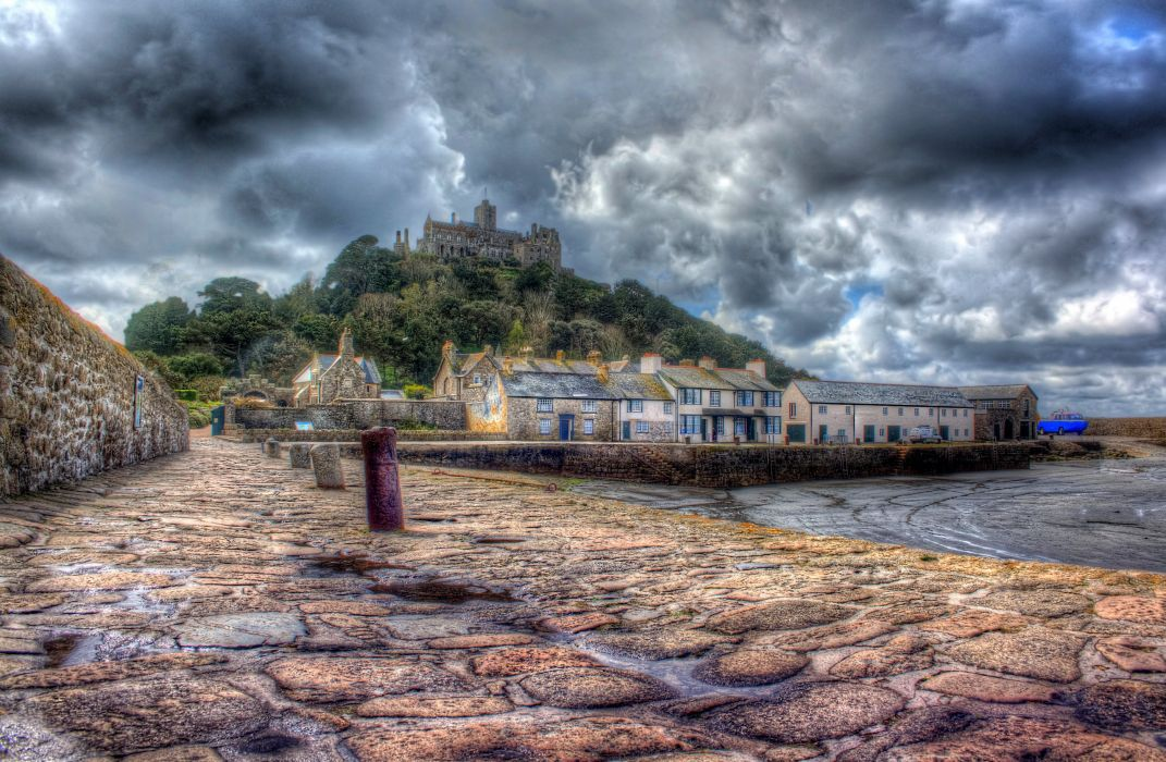 Sea Coast Castles United Kingdom HDR Clouds Waterfront Cities wallpaper