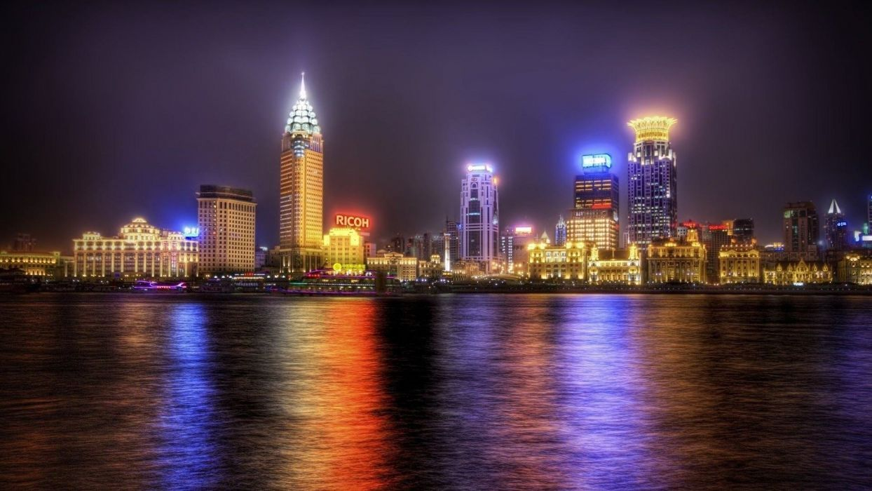 Shanghai Hdr Bay City Reflections Lights Skyscrapers Night Seaside wallpaper