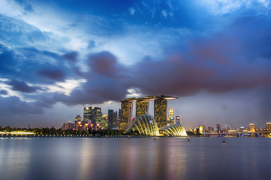 Singapore Coast Sky Houses Clouds Gardens by the Bay Cities wallpaper