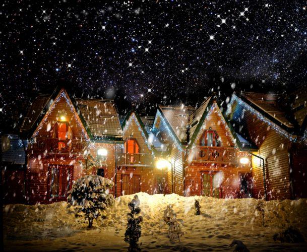 Seasons Winter Houses Snow Fir Night Street lights Snowflakes Cities wallpaper