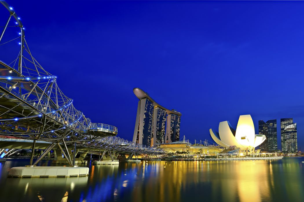 Singapore Bridges Sky marina bay Cities wallpaper