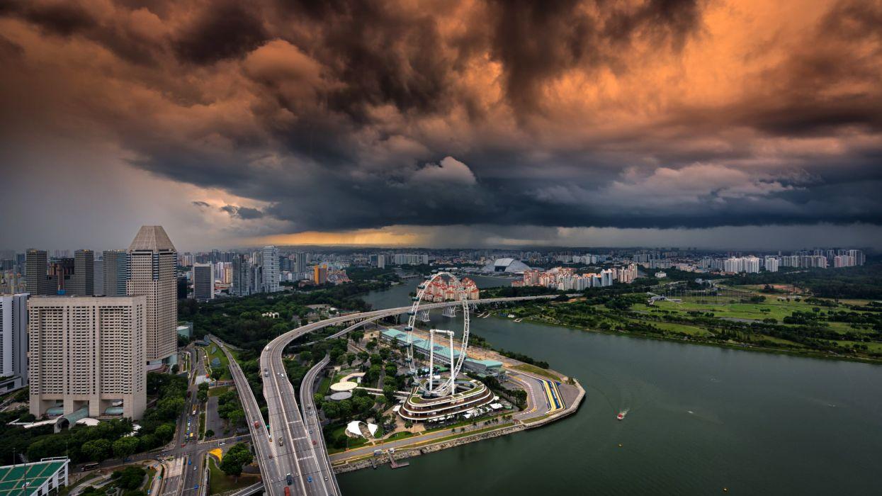 Singapore Houses Rivers Roads Bridges Clouds Ferris wheel Cities wallpaper