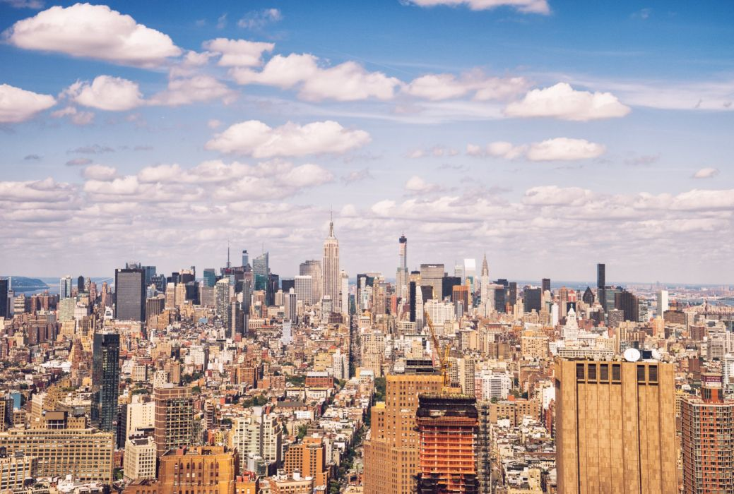 Sky Houses Skyscrapers USA Clouds Megapolis New York City Cities wallpaper