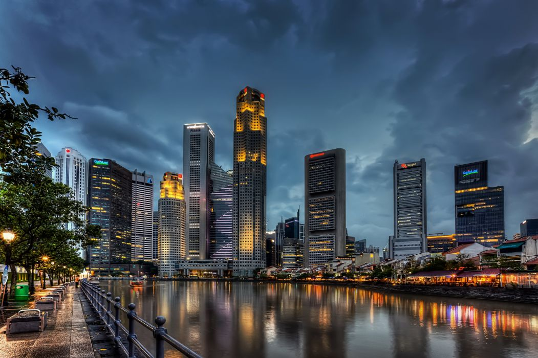 Singapore Skyscrapers Sky Night Street lights Cities wallpaper