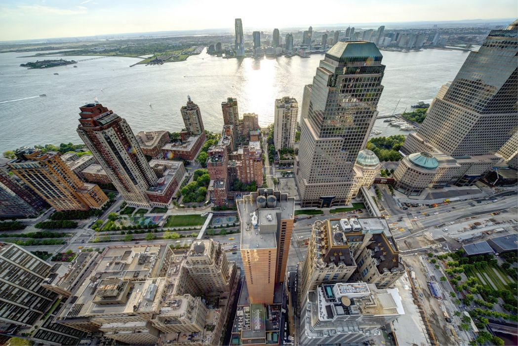 Skyscrapers USA Houses New York City From above Battery Park City Lower Manhattan Hudson River Cities wallpaper
