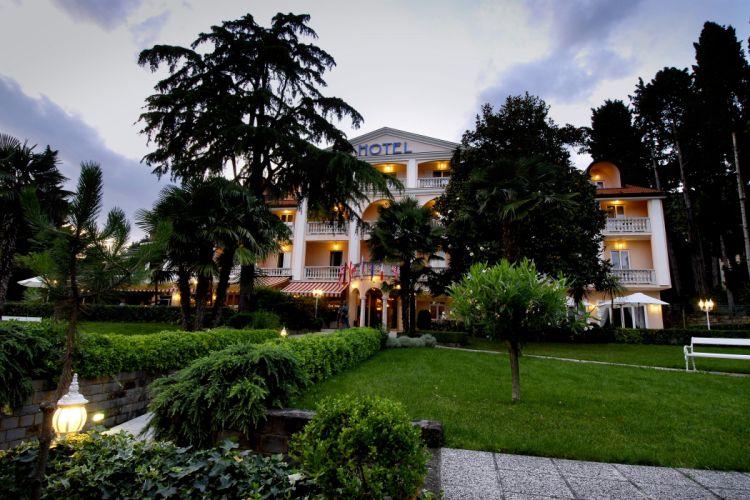Slovenia Houses Lawn Shrubs Trees Portoroz Cities wallpaper