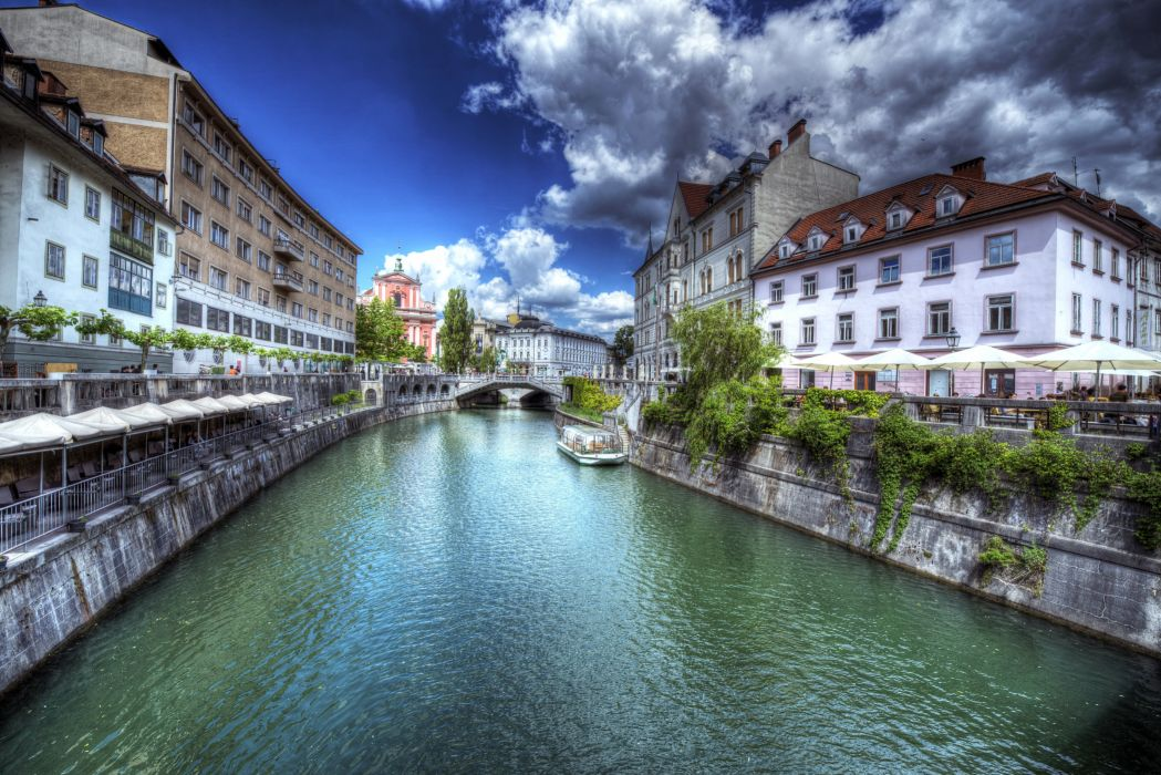 Slovenia Houses HDR Canal Clouds Ljubljana Cities wallpaper