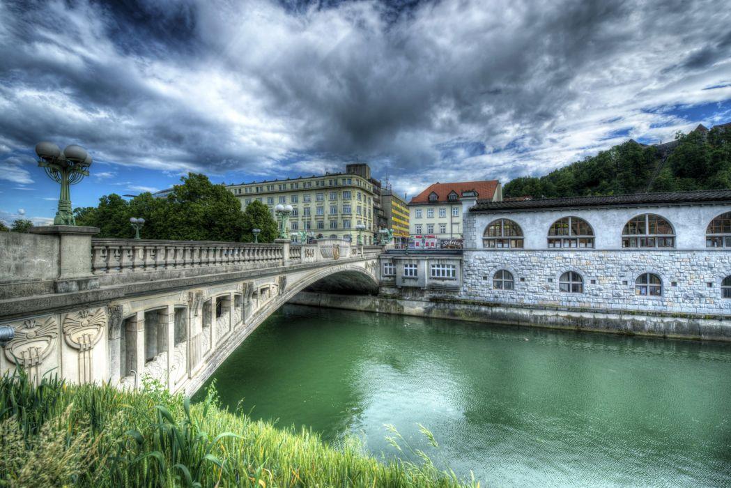 Slovenia Rivers Bridges Houses Sky HDR Ljubljana Cities wallpaper