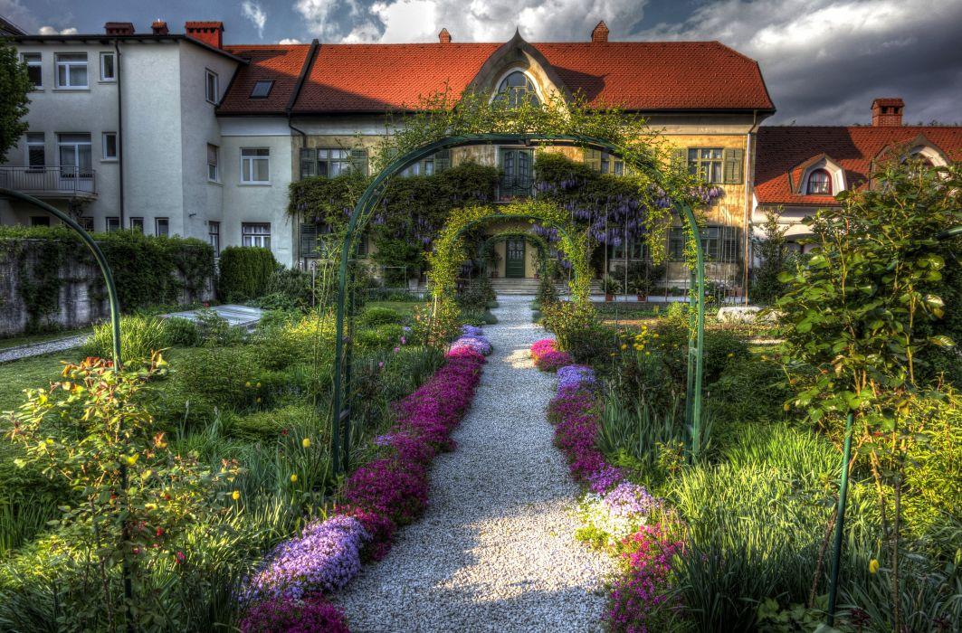 Slovenia Houses Shrubs Radovljica Cities wallpaper