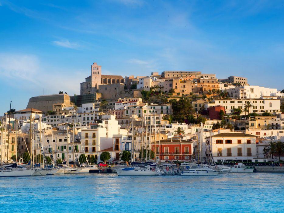 Spain Houses Coast Marinas Sailing Sea Ibiza Mallorca Cities wallpaper