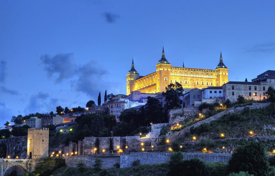 Spain Fortress Sky HDR Night Street lights Alcazar Toledo Cities wallpaper
