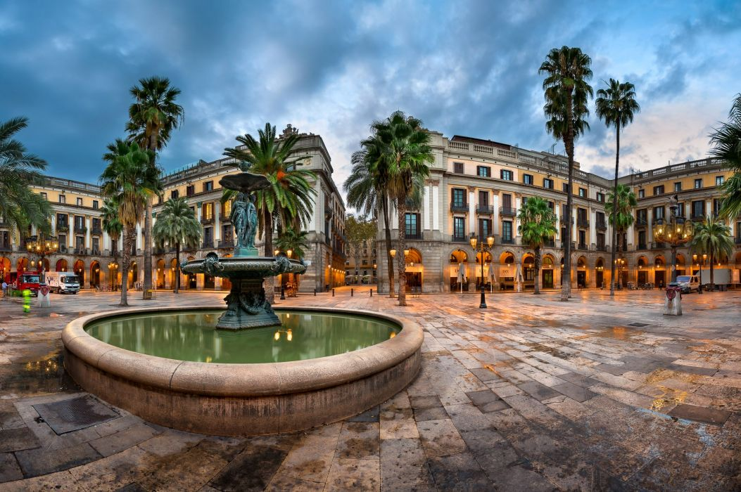 Spain Houses Fountains Sculptures Street Palma Street lights Barcelona Catalonia Cities wallpaper