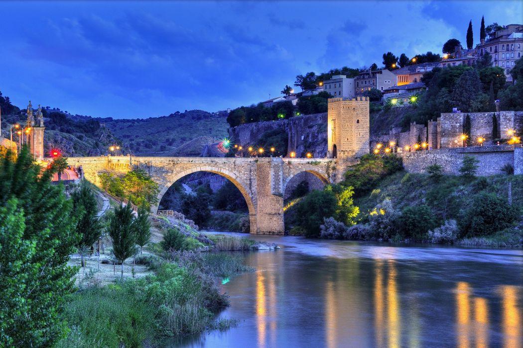 Spain Houses Rivers Bridges Night Street lights Toledo Cities wallpaper