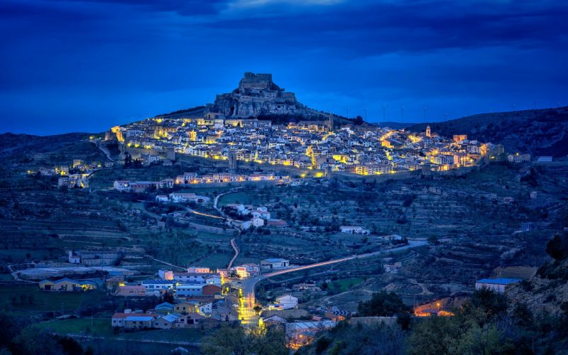 Spain Houses Roads Night Morella Valencia Cities wallpaper