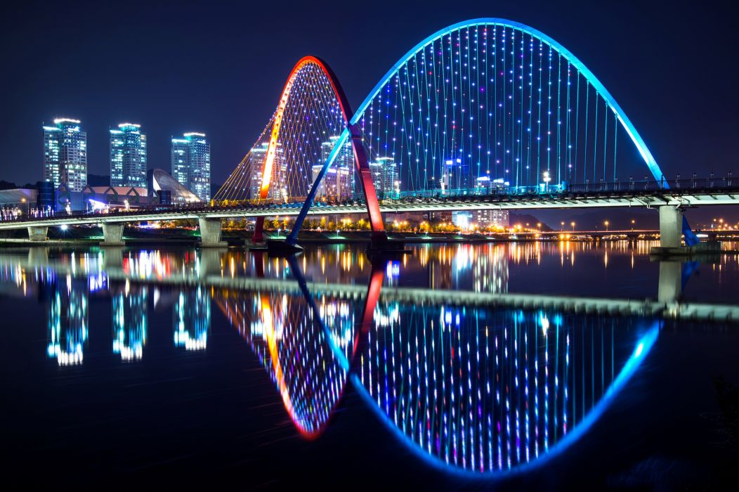 South Korea Houses Rivers Bridges Holidays Fairy lights Night Daejeon Cities wallpaper