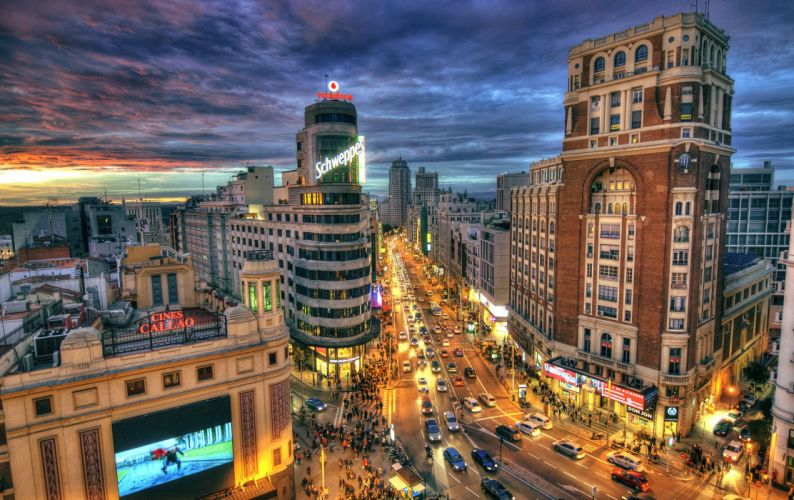 Spain Houses Roads Street Night Street lights HDR Madrid Cities wallpaper