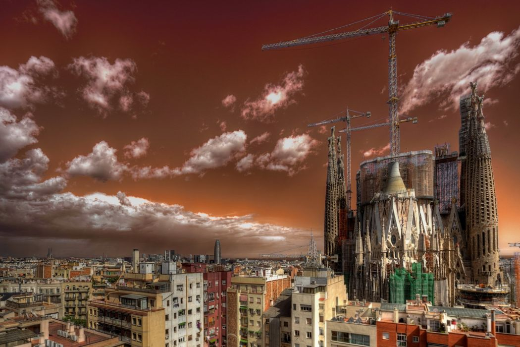 Spain Houses Sky Barcelona Clouds Cities wallpaper