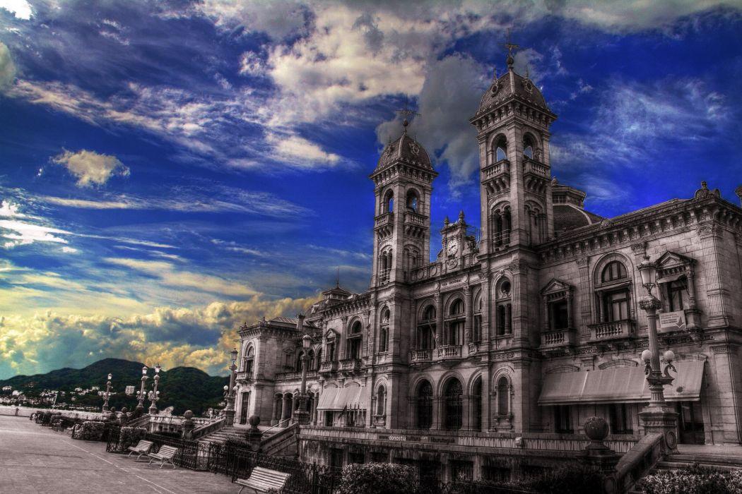 Spain Houses Sky HDR Clouds San Sebastian Donostia Basque Country Cities wallpaper