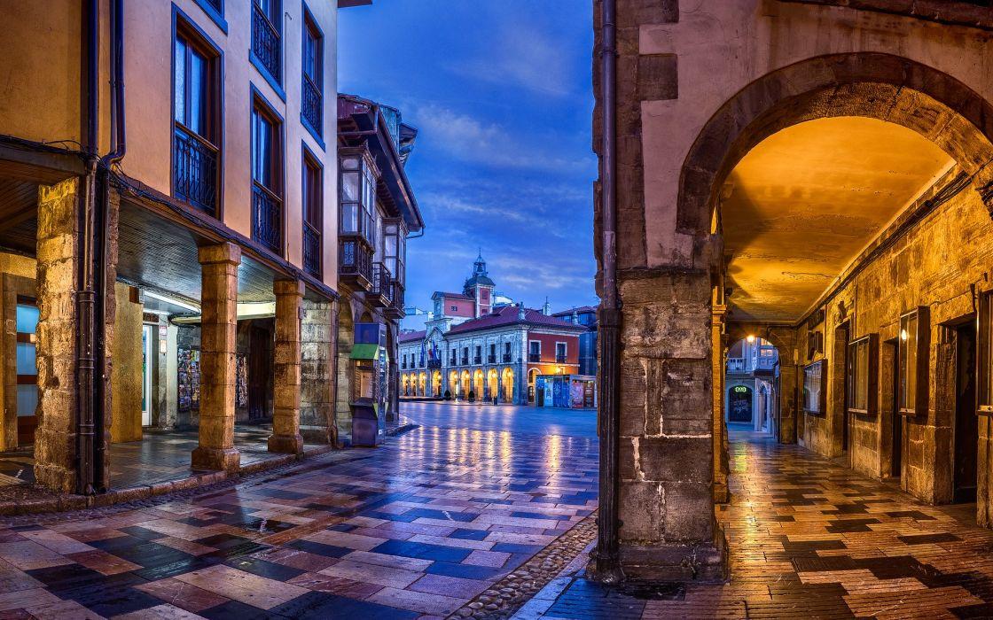 Spain Houses Street Night Street lights Aviles Asturias Cities wallpaper